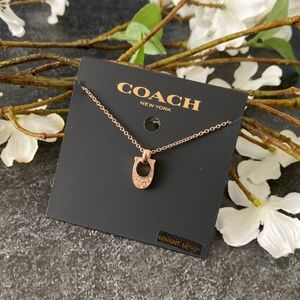 COACH NWT Rose Gold Pave Signature Necklace